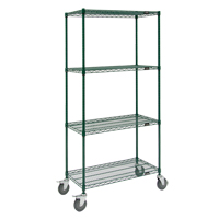 Green Epoxy Finish Wire Shelf Carts RL803 | SCN Industrial