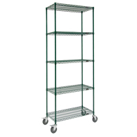 Green Epoxy Finish Wire Shelf Carts RL809 | SCN Industrial