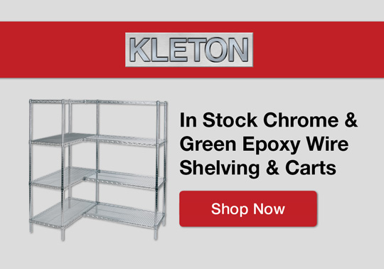 In Stock Chrome & Green Epoxy Wire Shelving & Carts