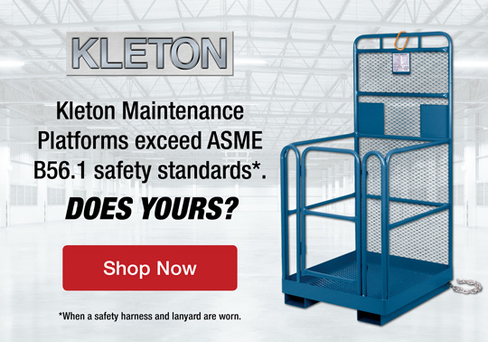 (Kleton logo) Maintenance Platforms exceed ASME B56.1 safety standards*. Does yours?